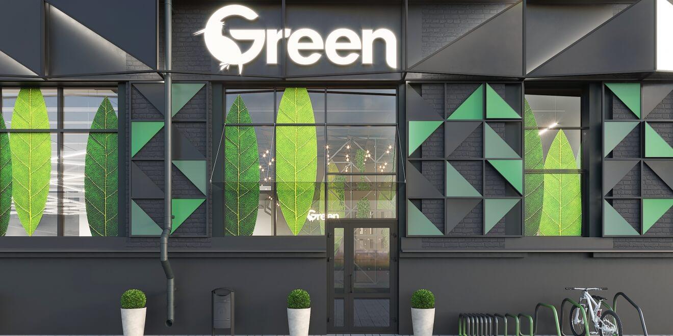 Фасад магазина GREEN. Минск (ул. В. Хоружей)