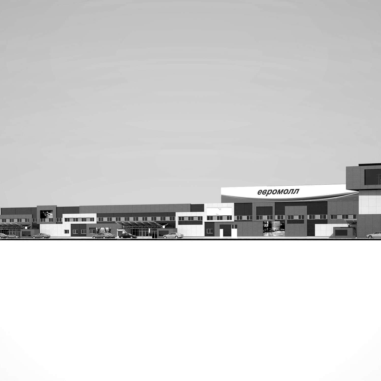 Концепция фасадов гипермаркета в Минске