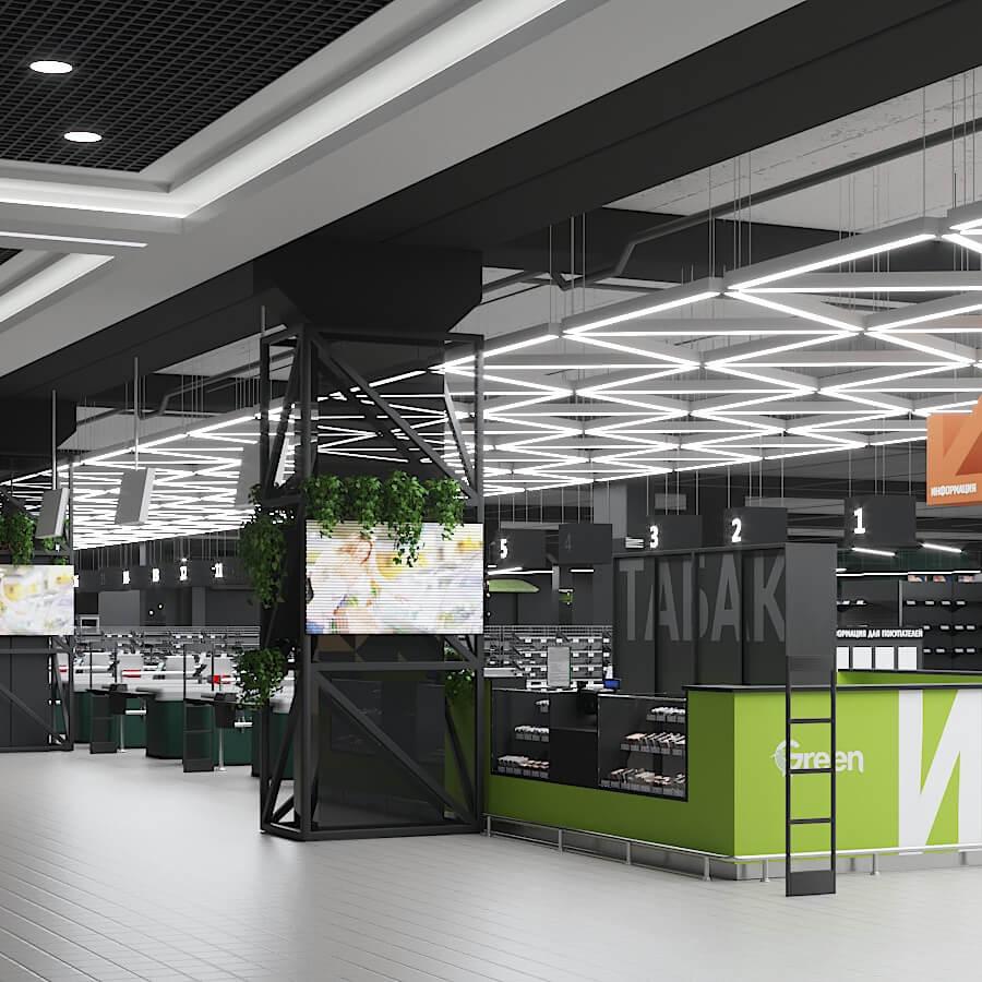 Интерьер торгового зала GREEN в ТРЦ ТРИНИТИ (Гродно)
