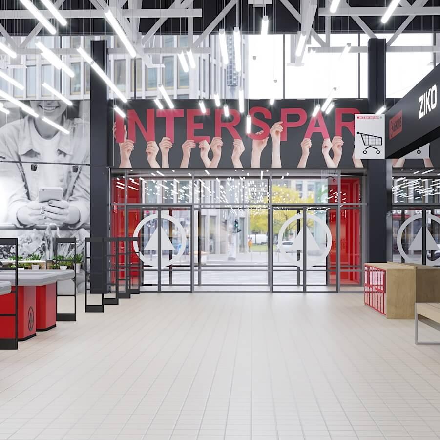 Интерьер торгового зала INTERSPAR в Гродно